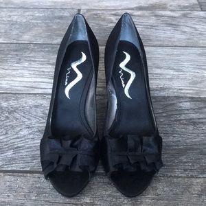 Nina Satin Bow Peep-Toe Heel